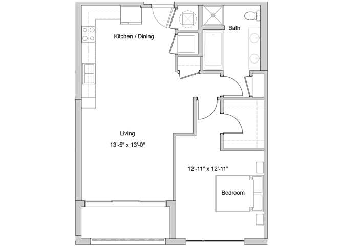 A54 Floor Plan at Grey House Apartments in Houston, Texas