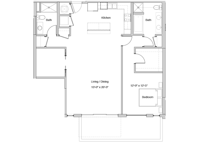 A56 Floor Plan at Grey House Apartments in Houston, Texas