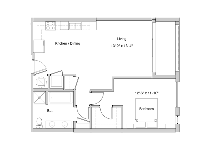 A6 Floor Plan at Grey House Apartments in Houston, Texas