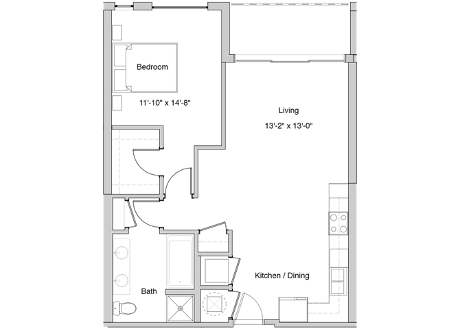 A8 Floor Plan at Grey House Apartments in Houston, Texas