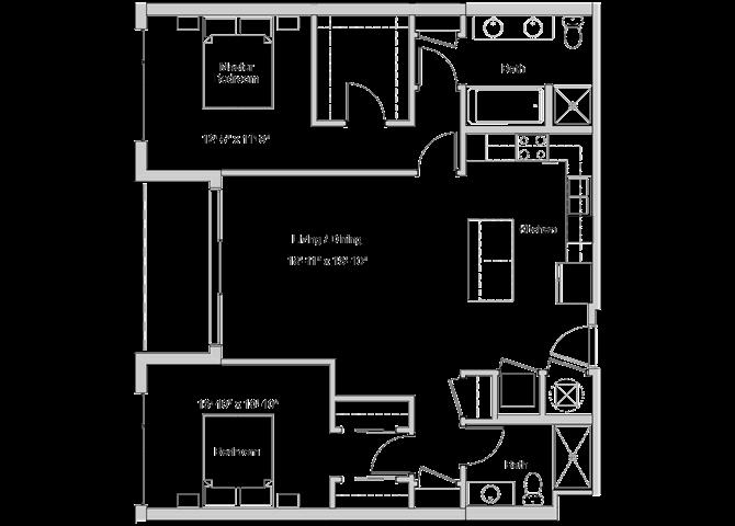 B4 Floor Plan at Grey House Apartments in Houston, Texas