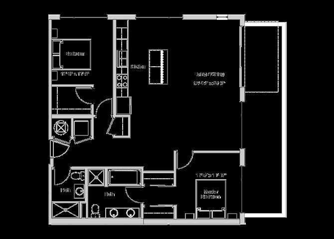 B9 Floor Plan at Grey House Apartments in Houston, Texas