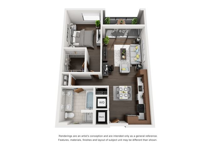 A1 Floor Plan at Grey House Apartments in Houston, Texas