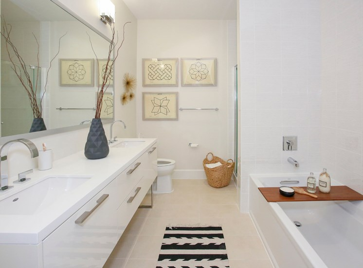 Bathroom at Grey House Apartments in Houston, Texas