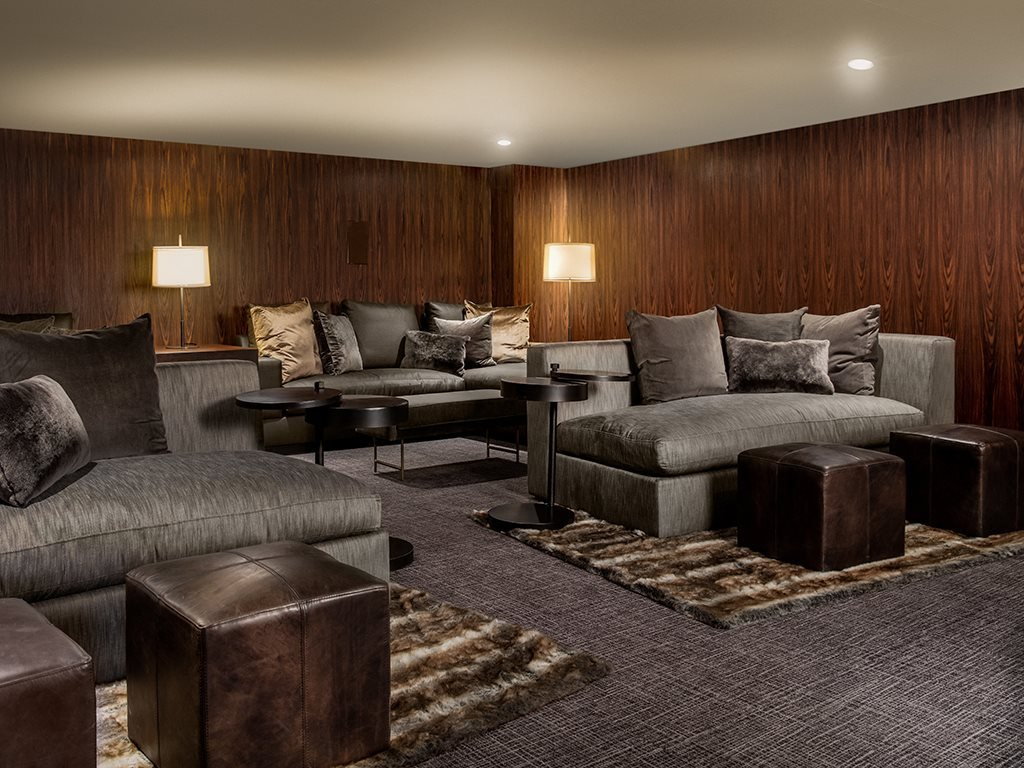 Elegant Screening Room at Grey House Apartments in Houston, Texas