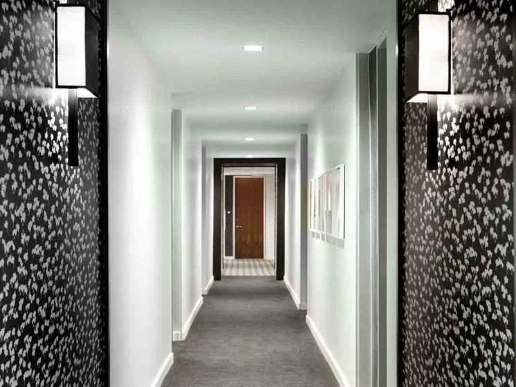 Hallway at Grey House Apartments in Houston, Texas