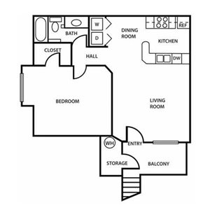 The Village at Lindsay Park | The Superstition Floor Plan 1 Bedroom 1 Bath