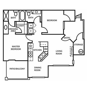 The Village at Lindsay Park | The Mesa Floor Plan  2 Bedroom 2 Bath