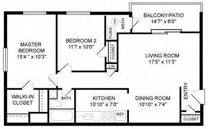 Two Bedroom (2A) Floor Plan 2