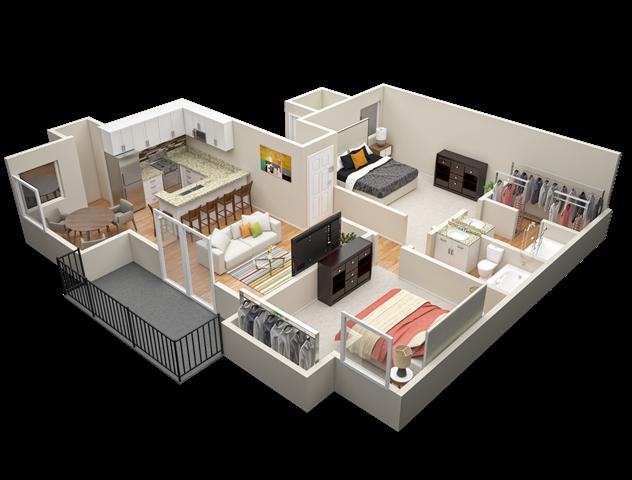 Two Bedroom / Two Bath Floor Plan 5