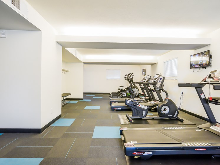 24 hour gym at Nori Apartments in North Kansas City, MO