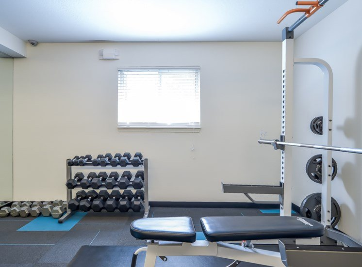 Free weights in our Fitness Center at Nori Apartments in Kansas City, MO and in North Kansas City, MO