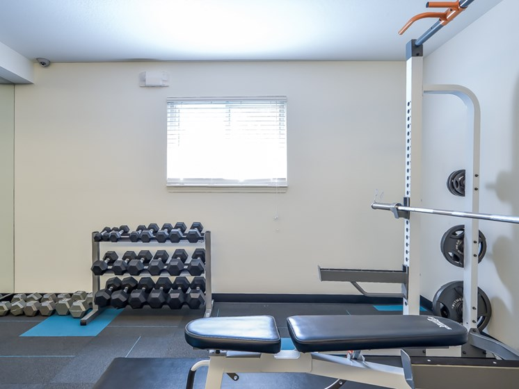 Free weights in our Fitness Center at Nori Apartments in North Kansas City, MO