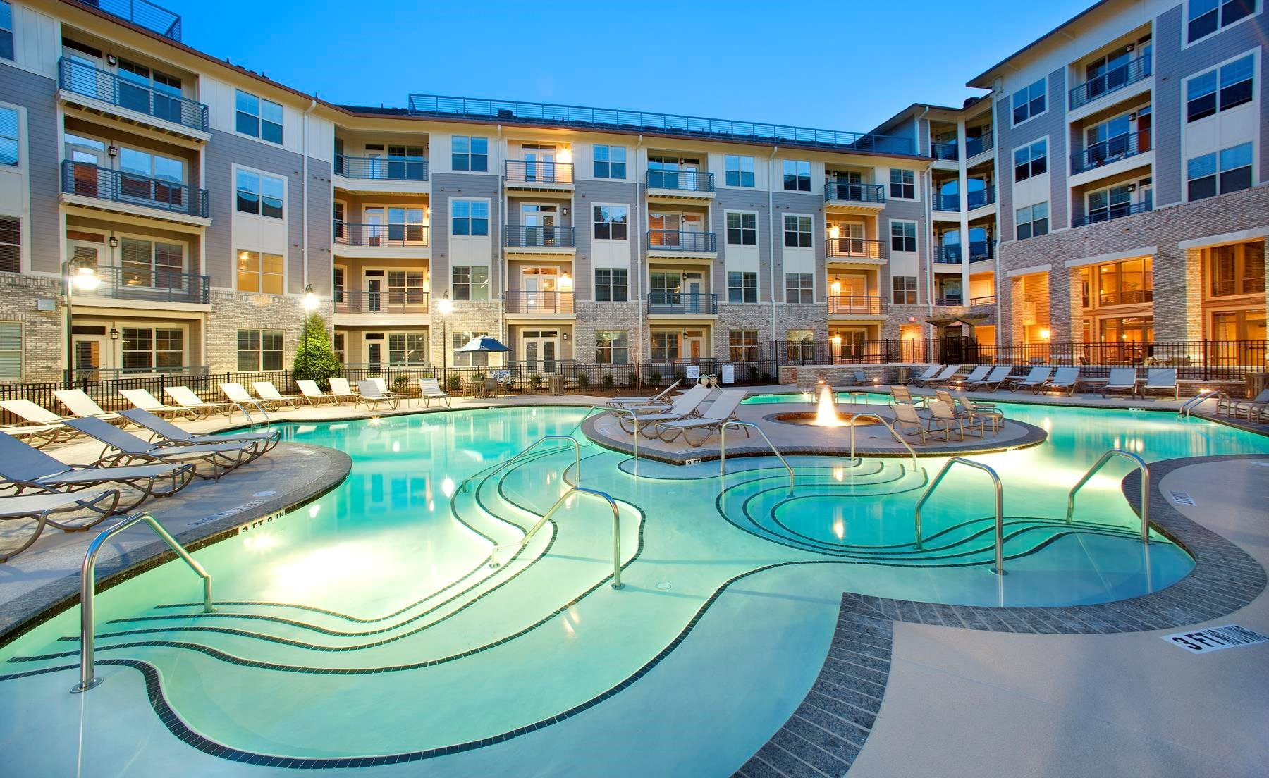 grecian style pool with expansive sundeck | The Tribute Apartments in Raleigh, NC