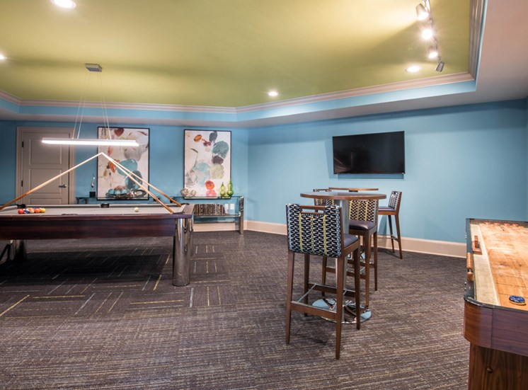 The Tribute Apartments for Rent in Raleigh, NC, sports lounge game room