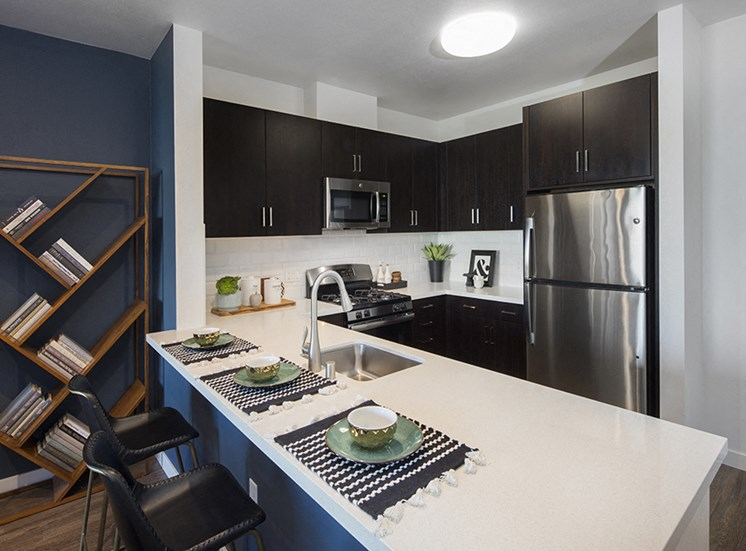 Aspect apartment interior with kitchen