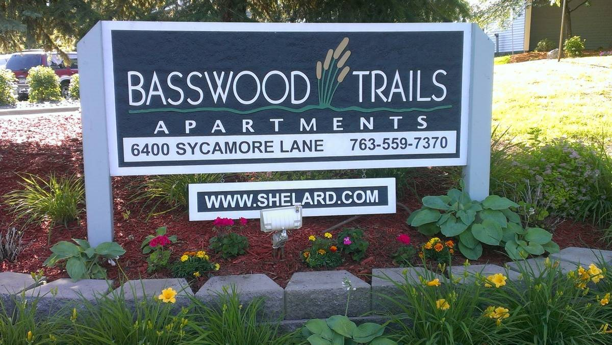 Signage at Basswood Trails Apartments, Maple Grove, Minnesota