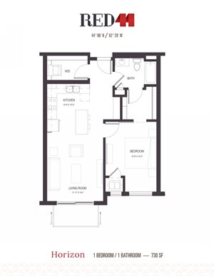 Floor Plan at Red44, Minnesota, 55902