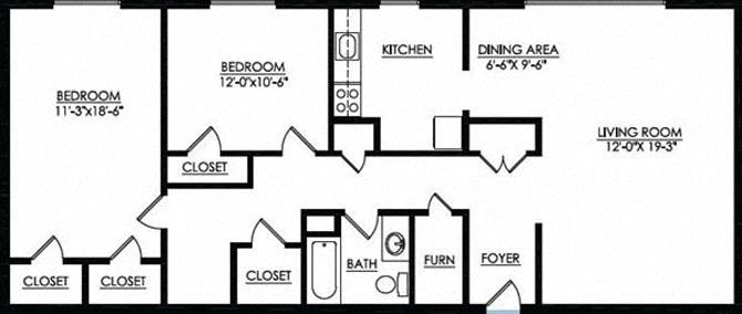 2 Bedroom 1 Bath Floor Plan 1