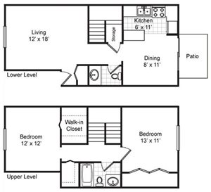 Two Bedroom One And A Half Bath TH