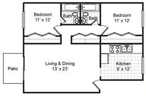 Two Bedroom Two Bath Flat