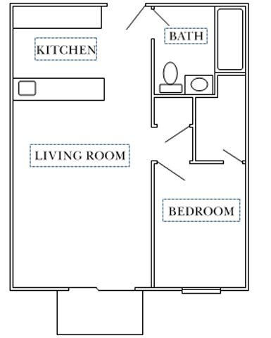 Center Court-1 bedroom Floor Plan 2