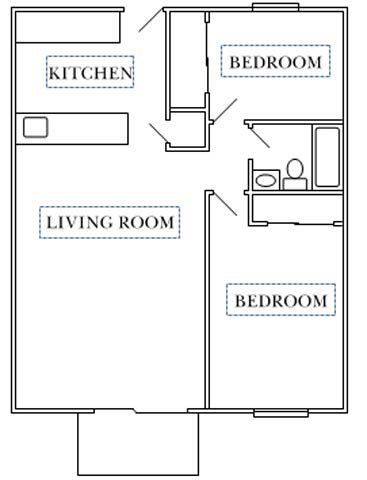 Center Court-2 bedroom Floor Plan 1
