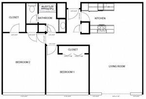 2 Bedrooms, 1 Bathroom