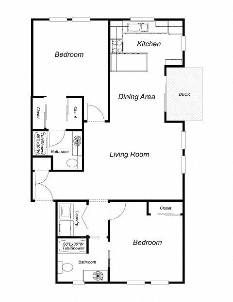 2-Bedroom, 2-Bath Floor Plan 1
