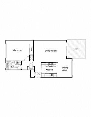 1-Bedroom, 1-Bathoom 740