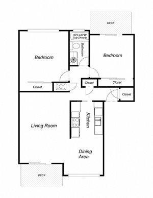2-Bedroom, 1-Bathroom 1000