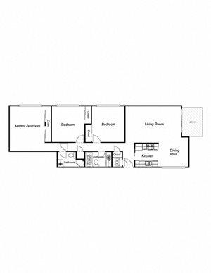 3-Bedroom, 2-Bathroom 1200