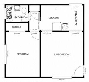 1-Bedroom, 1-Bath - Plan B