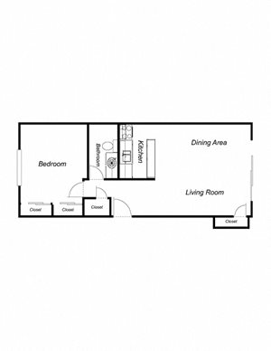 1-Bedroom, 1-Bathroom 720