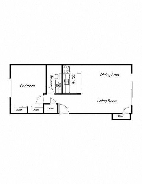 1-Bedroom, 1-Bathroom 720 Floor Plan 1