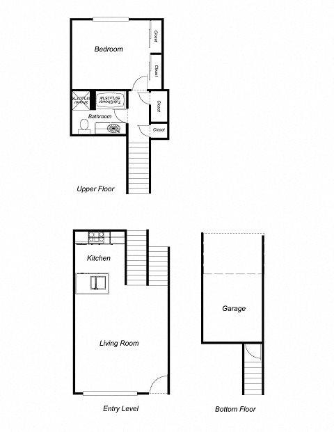 1-Bedroom, 1-Bathroom 770 Floor Plan 2