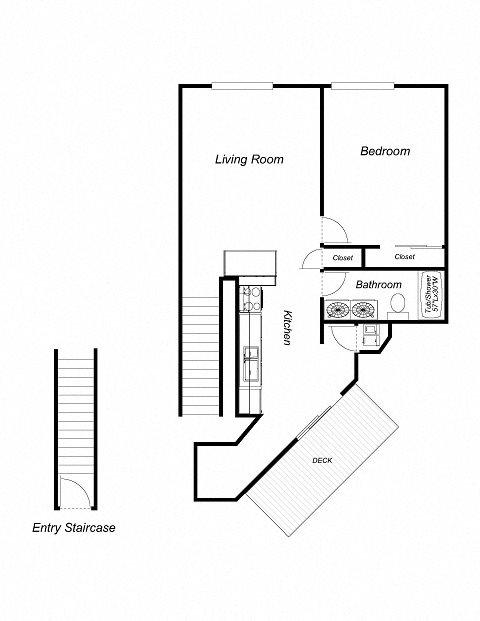 1-Bedroom, 1-Bathroom 811 Floor Plan 3