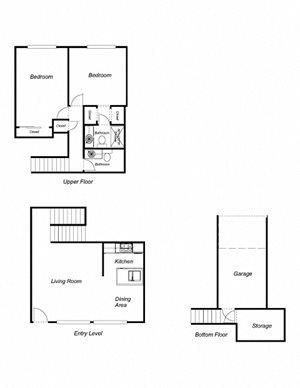 2-Bedroom, 2-Bathroom 1140