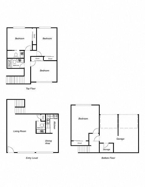4-Bedroom, 2-Bathroom 1650 Floor Plan 7