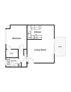 1-Bedroom, 1-Bathroom (555sqft)