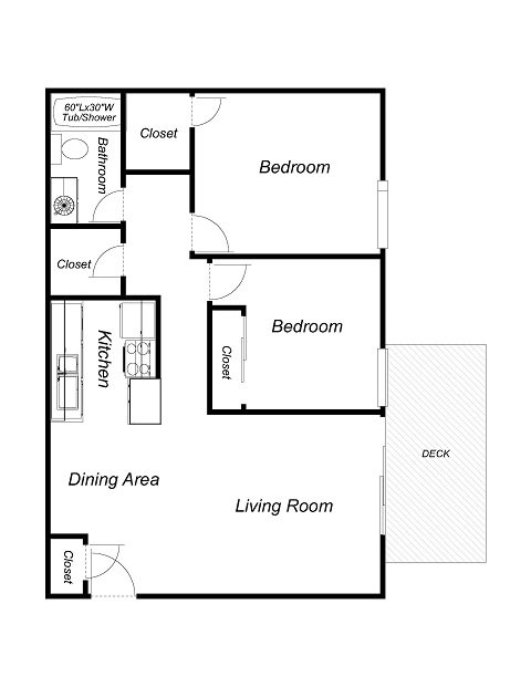 2 Bedrooms, 1 Bathroom Floor Plan 2