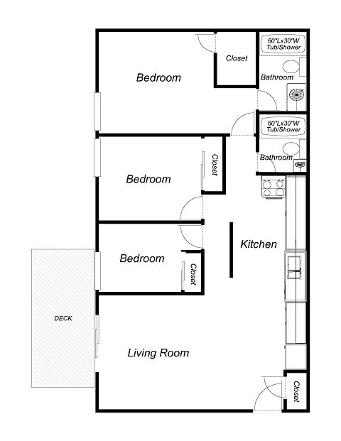 3 Bedrooms, 2 Bathrooms Floor Plan 3