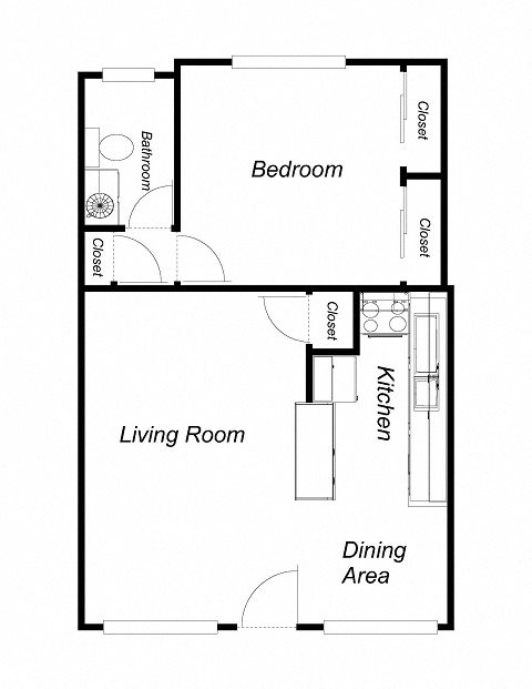 1-Bedroom, 1-Bathroom Floor Plan 2