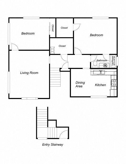 2-Bedrooms, 1-Bathroom (DuplexB) Floor Plan 5