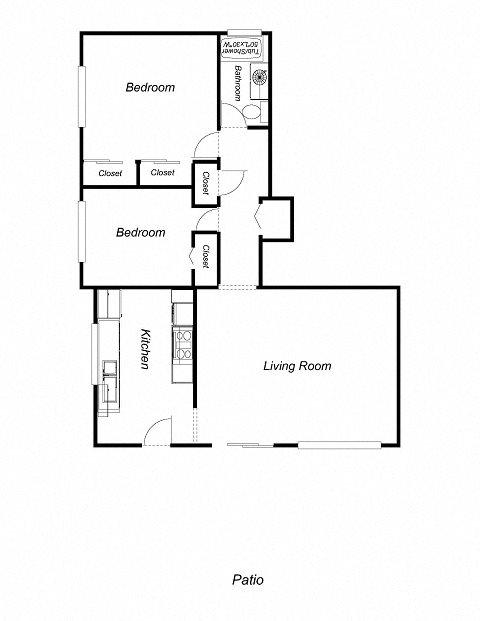 2-Bedrooms, 1-Bathroom (DuplexA) Floor Plan 4