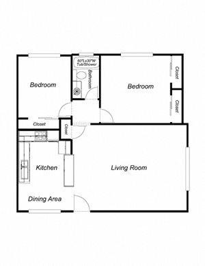 2-Bedrooms, 1-Bathroom