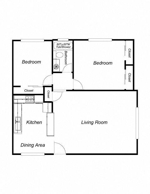2-Bedrooms, 1-Bathroom Floor Plan 3