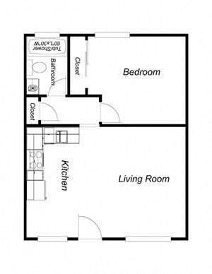1 Bedroom, 1 Bathroom (600) R