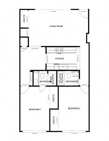 2-Bedroom, 2-Bath Floor Plan 1