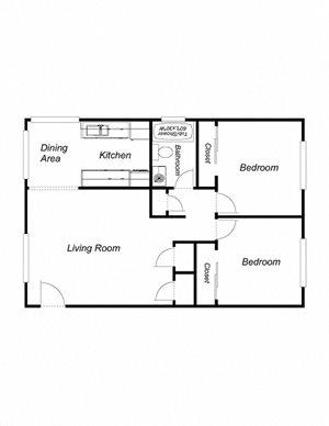 2-Bedrooms, 1-Bathroom (cu)
